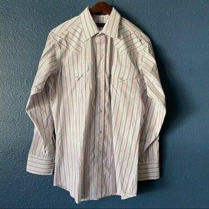 Panhandle Slim Pearl Snap Striped Button Up Shirt